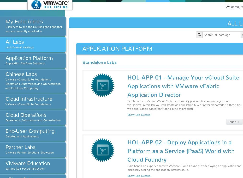 Free online vmware lab vmware hands on labs hol once logged in you will be provided with vmware hands on lab to play around malvernweather Image collections