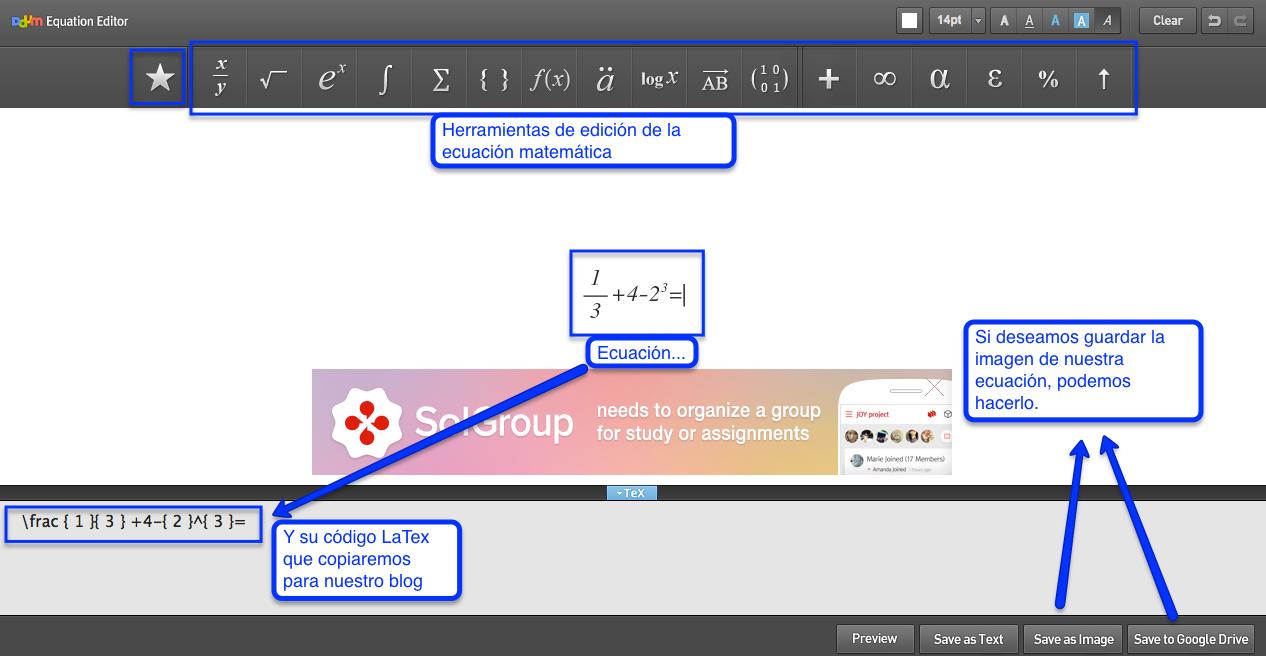 Taller de blogs educativos: ¿Cómo insertar ecuaciones en Blogger?