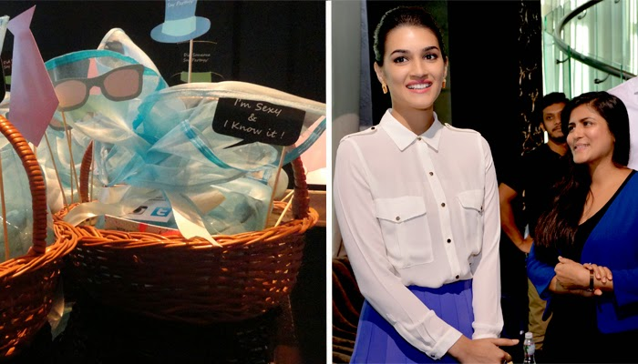 An image of a goodie basket filled with Gillette Venus products and photo props alongside an image of Bollywood actress Kriti Sanon and celebrity makeup artist Namrata Soni