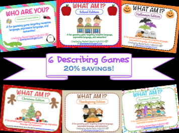 http://www.teacherspayteachers.com/Product/What-Am-I-BUNDLE-Describing-Games-987840