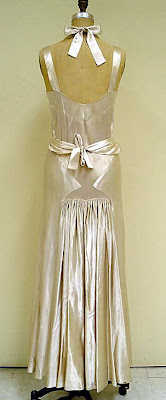 White satin dress by Bruyère from the 1930s