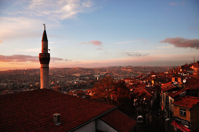 Sunset in Ankara seen from the citadel, Turkey