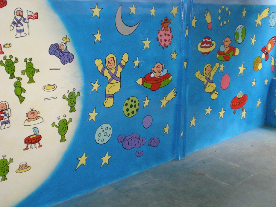 Wall Decoration In Play School : Play school classroom wall painting thana ghatkoper mulund