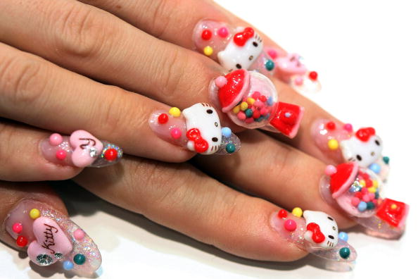 Crazy Hello Kitty Nails