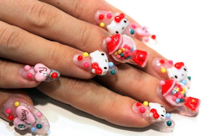 nail nailart 3dnailart arylicnail art kawaii japanese candy design cool best hello kitty candy tokyo 252862529 - Nail Art