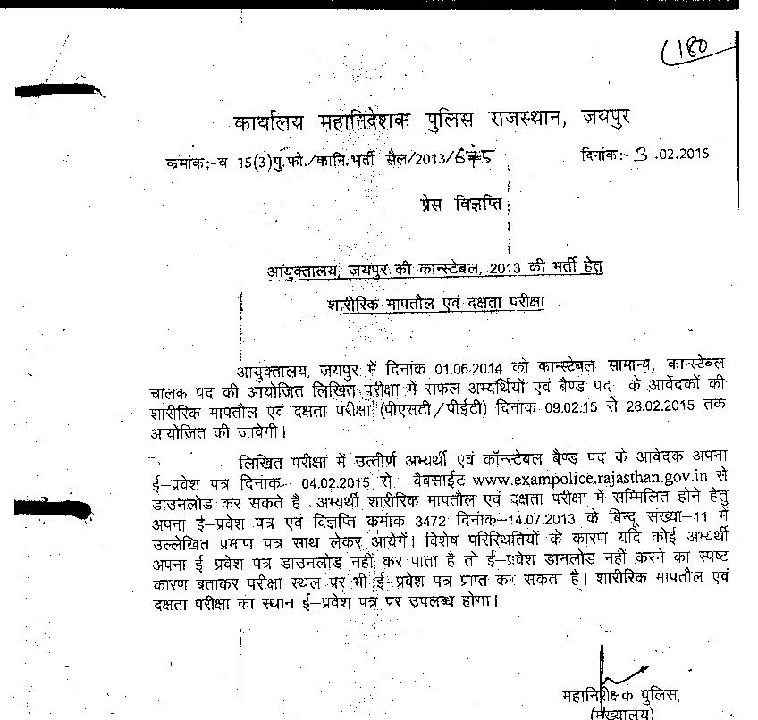 Raj. Police Admit card