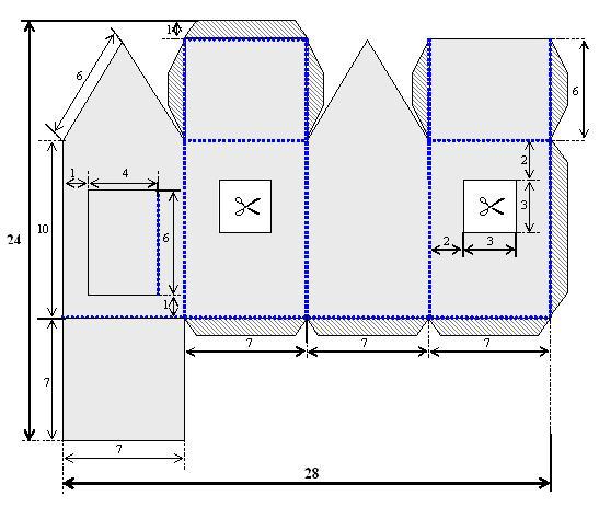 Домик из коробки схема