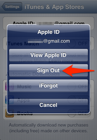 Sign Out Apple ID iPhone