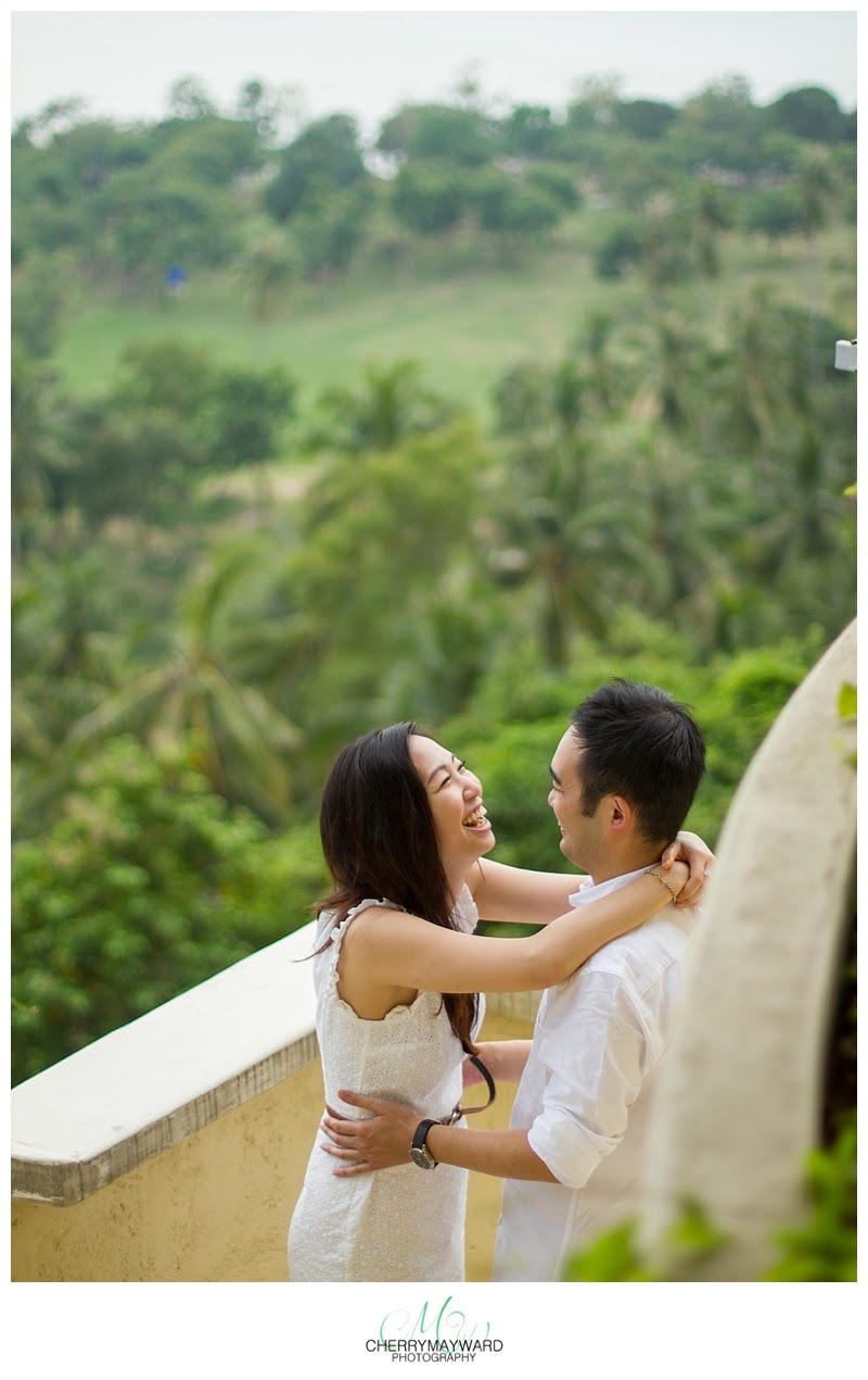 mountain top villa, engagement photos in thailand, couple laughing, beautiful view, green mountainous view, villa on the hill, Koh Samui villa sependipity