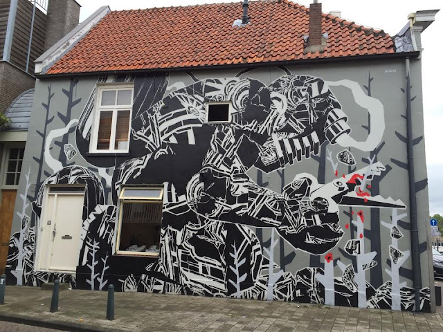 While we last heard from him in Aalborg, Denmark, M-City has now reached the Netherlands where he just finished working on a brand new piece somewhere on the streets of Breda.