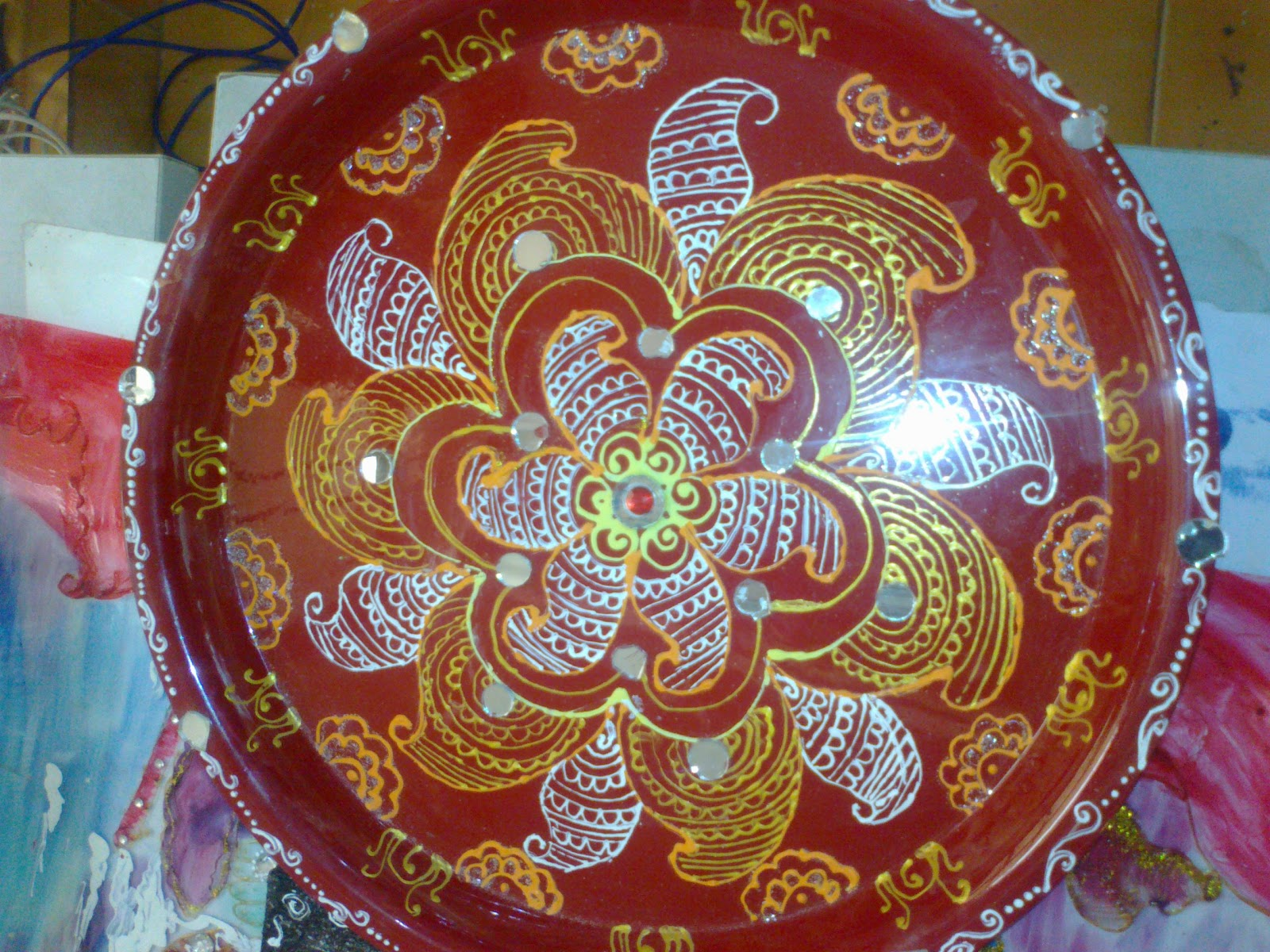 Hand made art for Aarti thali decoration with rice