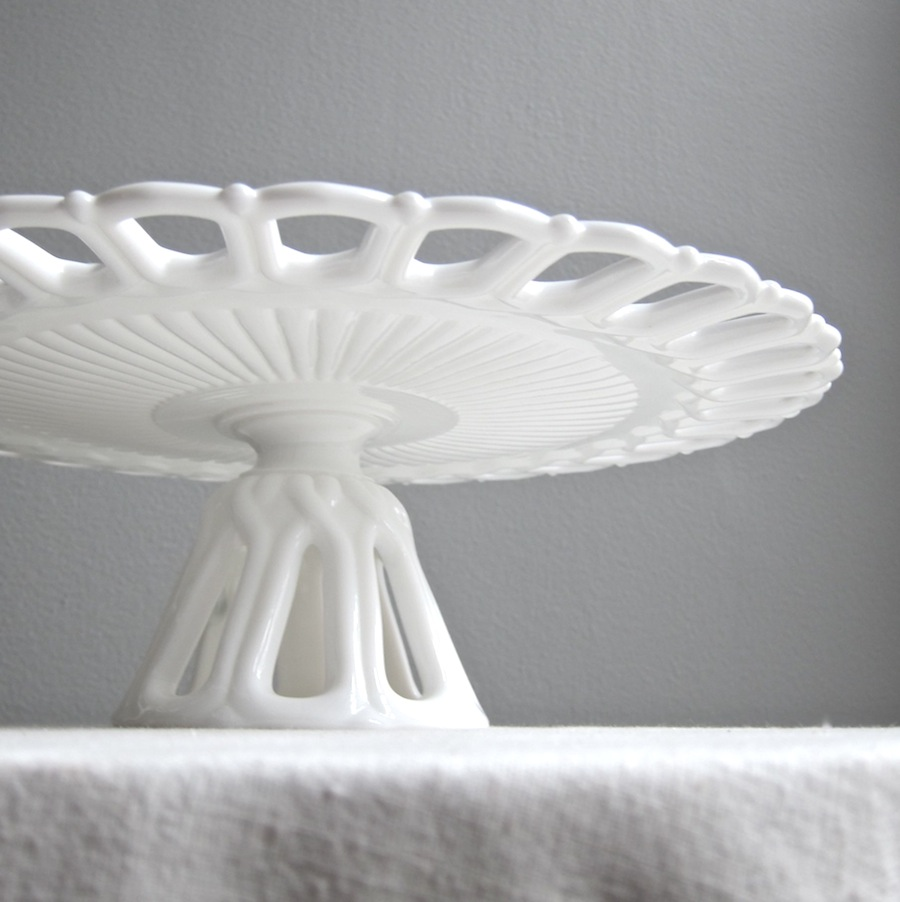 cake stand made by fostoria in the arlington pattern