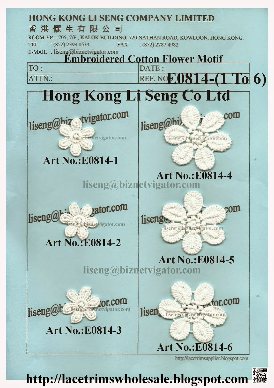 Embroidered Cotton 3D Flower Motif Manufacturer Wholesaler Supplier - Hong Kong Li Seng Co Ltd