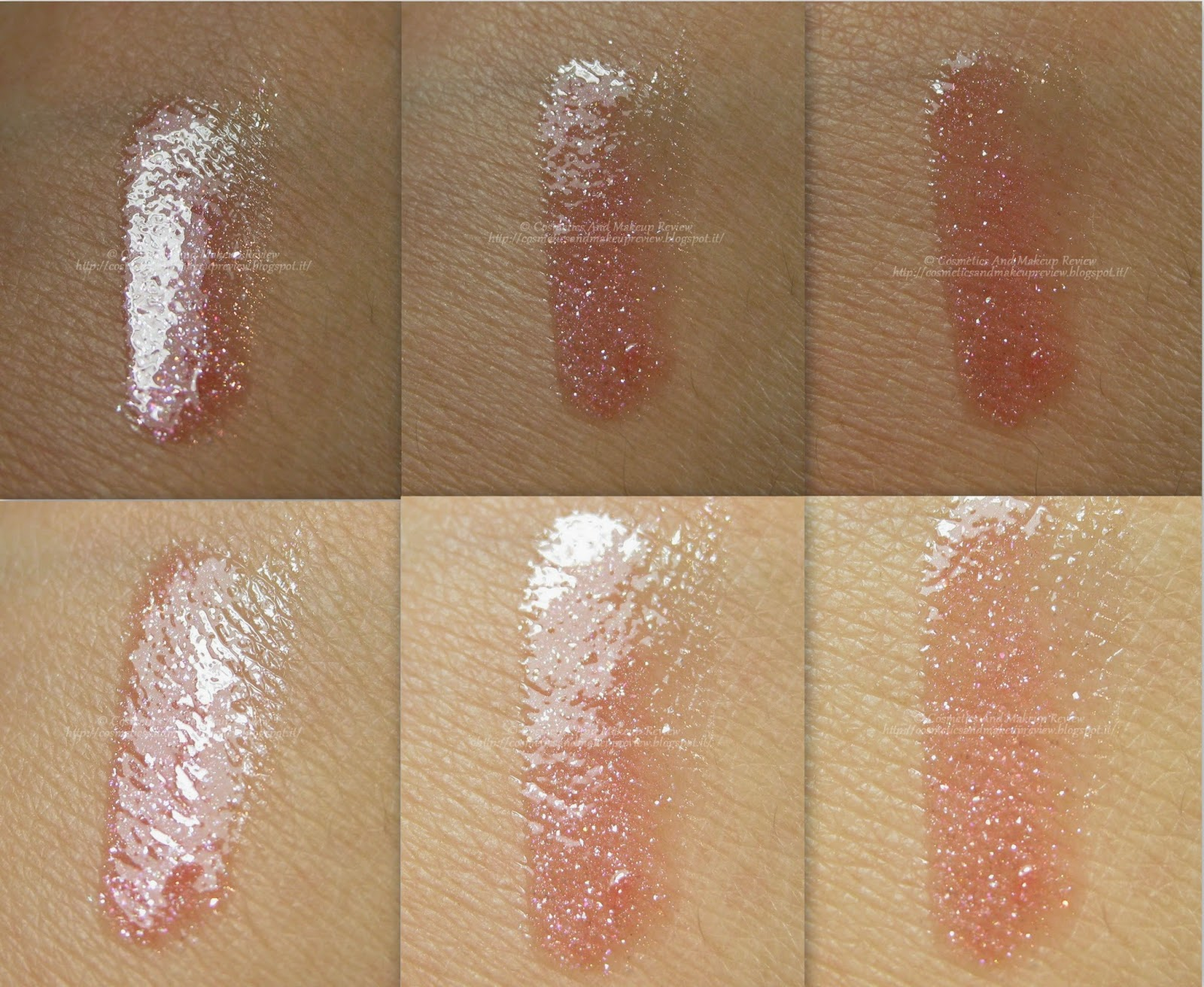 Labo LED Make-Up - Lipgloss 07 Rosa Simplicity - swatches (in  ombra in alto, alla luce in basso)