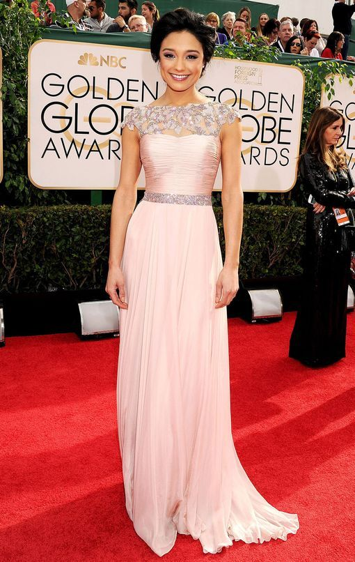 Rachel Smith in an icy pink dress at the 2014 Golden Globe Awards