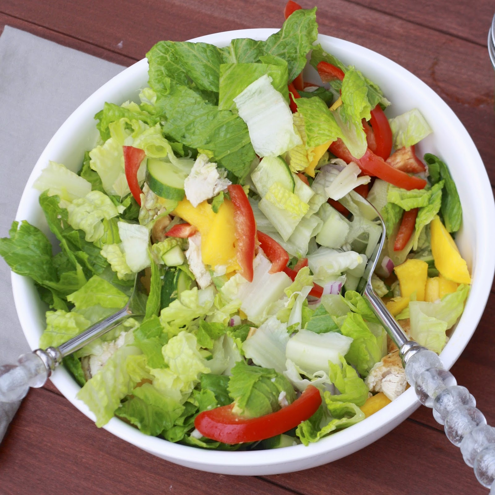 Chopped Mango Chicken Salad with Jalapeno Cilantro Vinaigrette | The Sweets Life