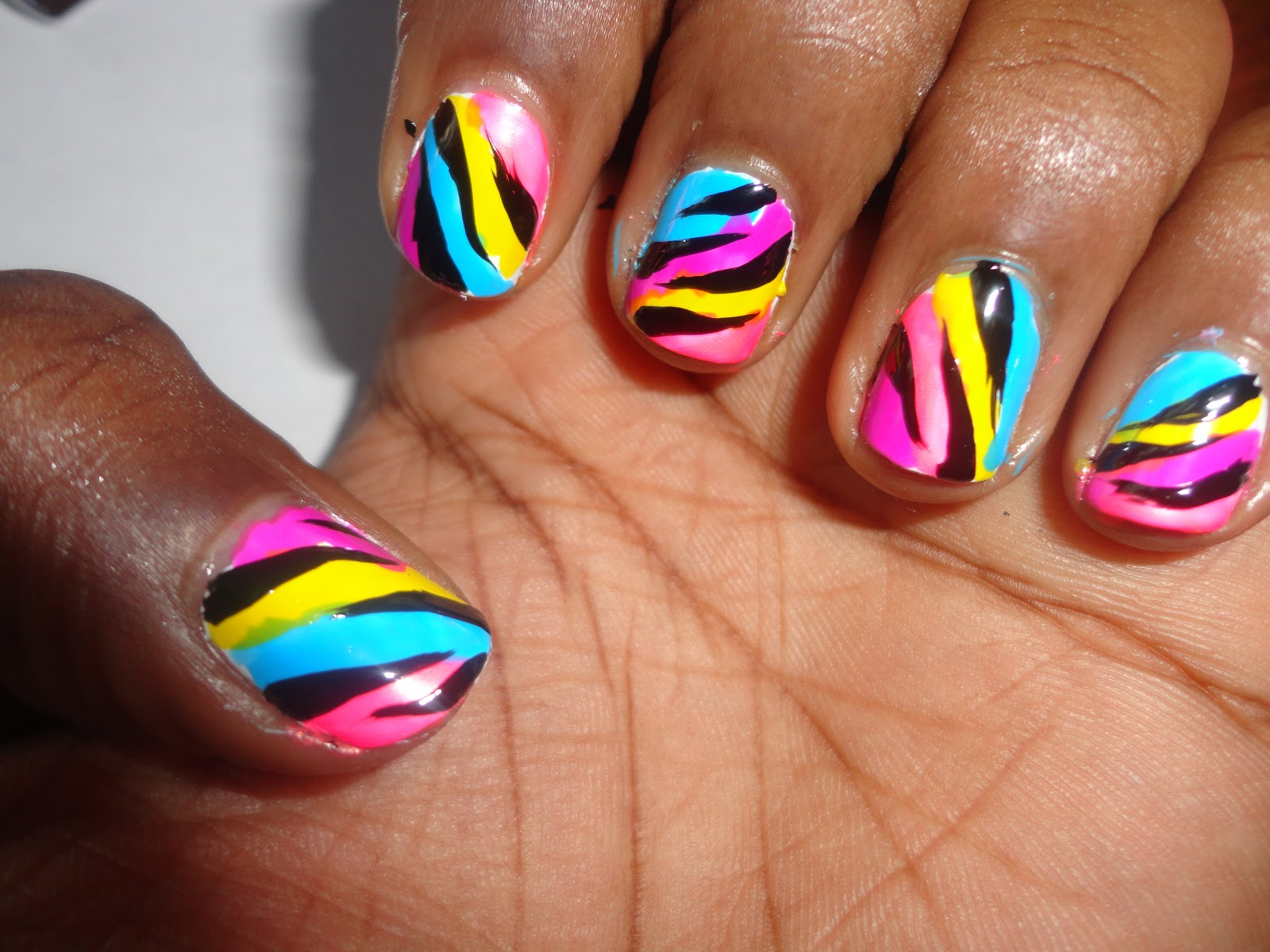 The Amazing Zebra print rainbow nail designs Images