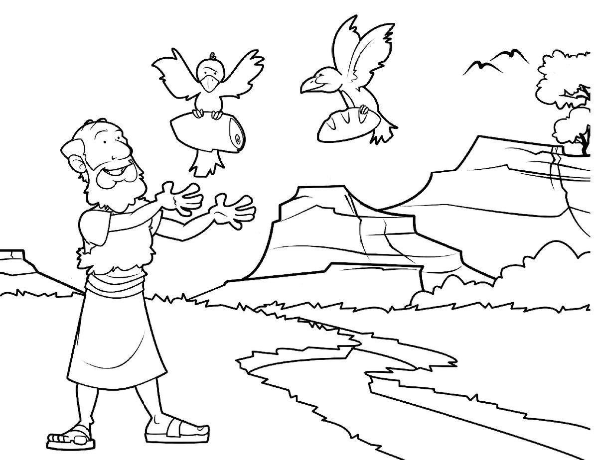 Elias es alimentado por los cuervos para colorear