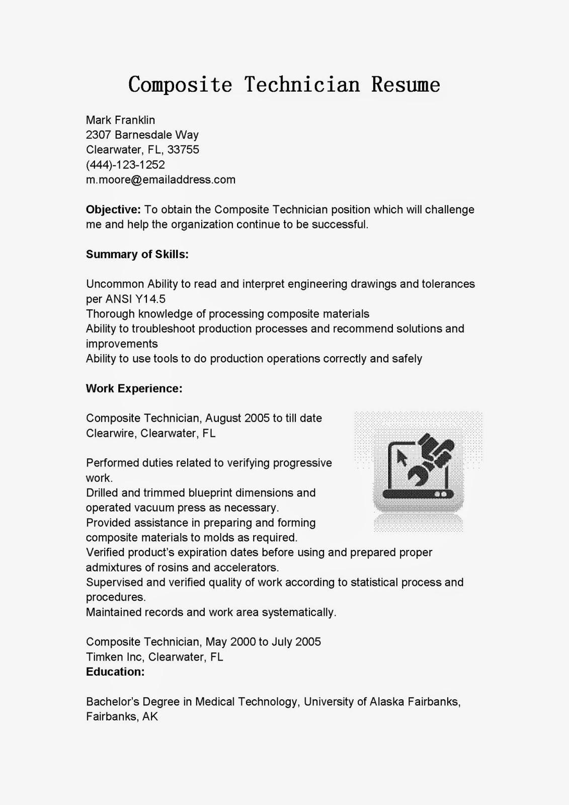resume samples  composite technician resume sample