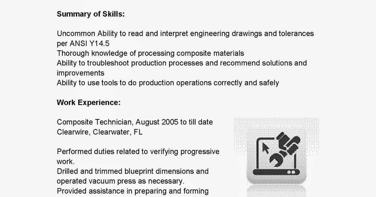 resume samples  composite technician resume sample