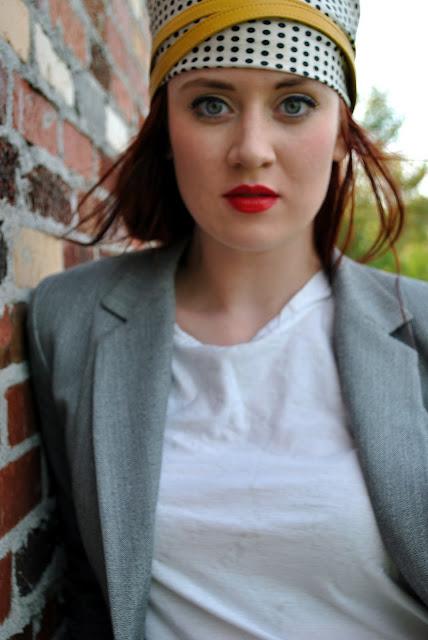 Chanel 99 lipstick, oxfords, turban, black skinny jeans, gray blazer