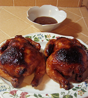 Two Glazed Roasted Hens with Sauce
