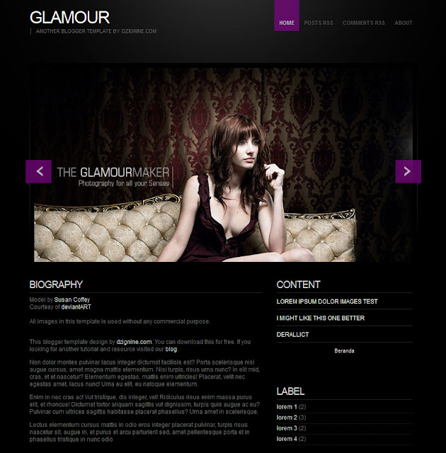 Blogger Template Glamour free download