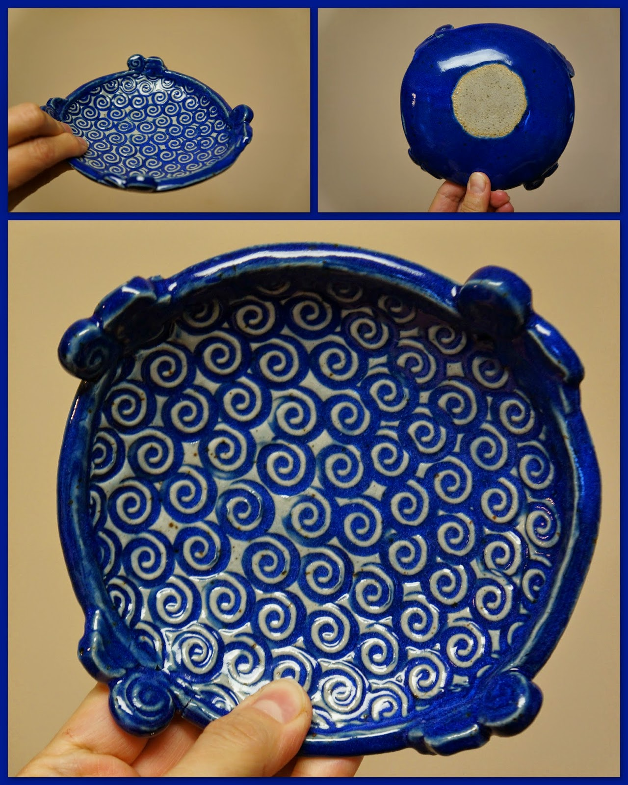 Unique handmade pottery / stoneware dish with swirly design.