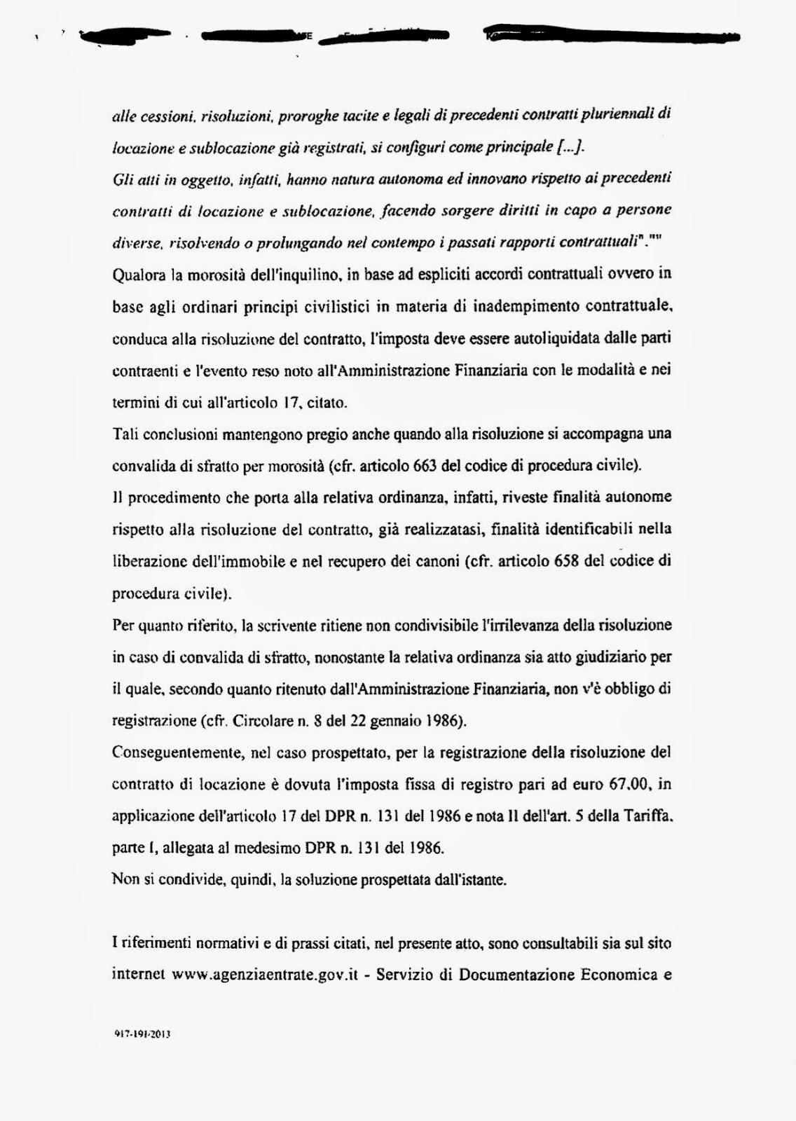 Michele de angelis imposta di registro e convalida dello for Imposta di registro locazione