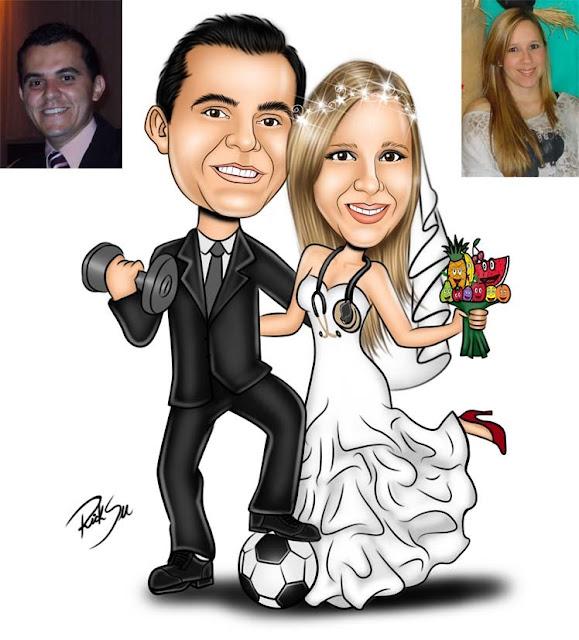caricatura de noivos com musculação e nutrição