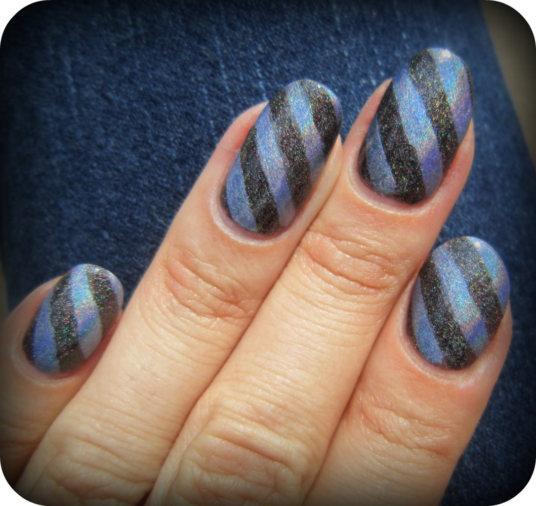 Concrete And Nail Polish Striped Nail Art: Concrete And Nail Polish: Pomegranate Cyberspace