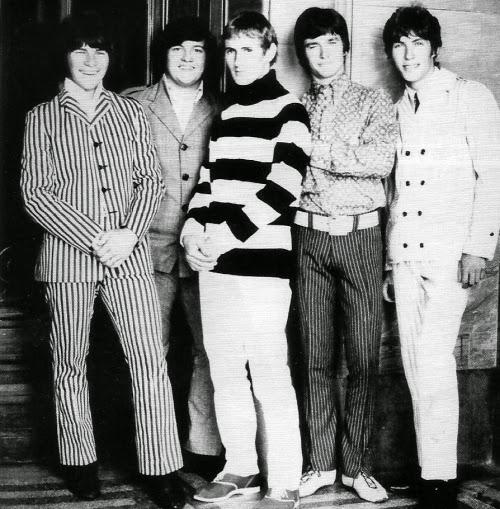 Larrys Rebels, Outside Auckland Museum, 1967. L-R: Larry Morris, Nooky Stott, Terry Rouse, John Williams, Viv McCarthy.