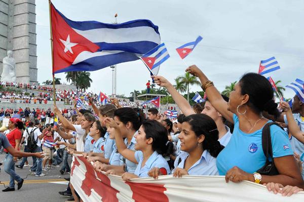 Desfile por el Día Internacional de los Trabajadores en la Plaza de la Revolución José Martí, en La Habana, Cuba, el primero de mayo de 2013.