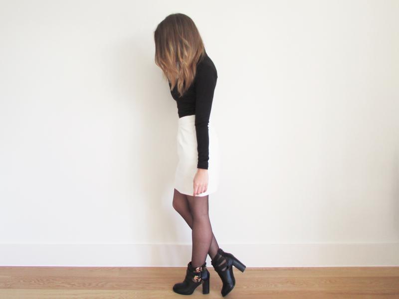 White PU Leather Skirt