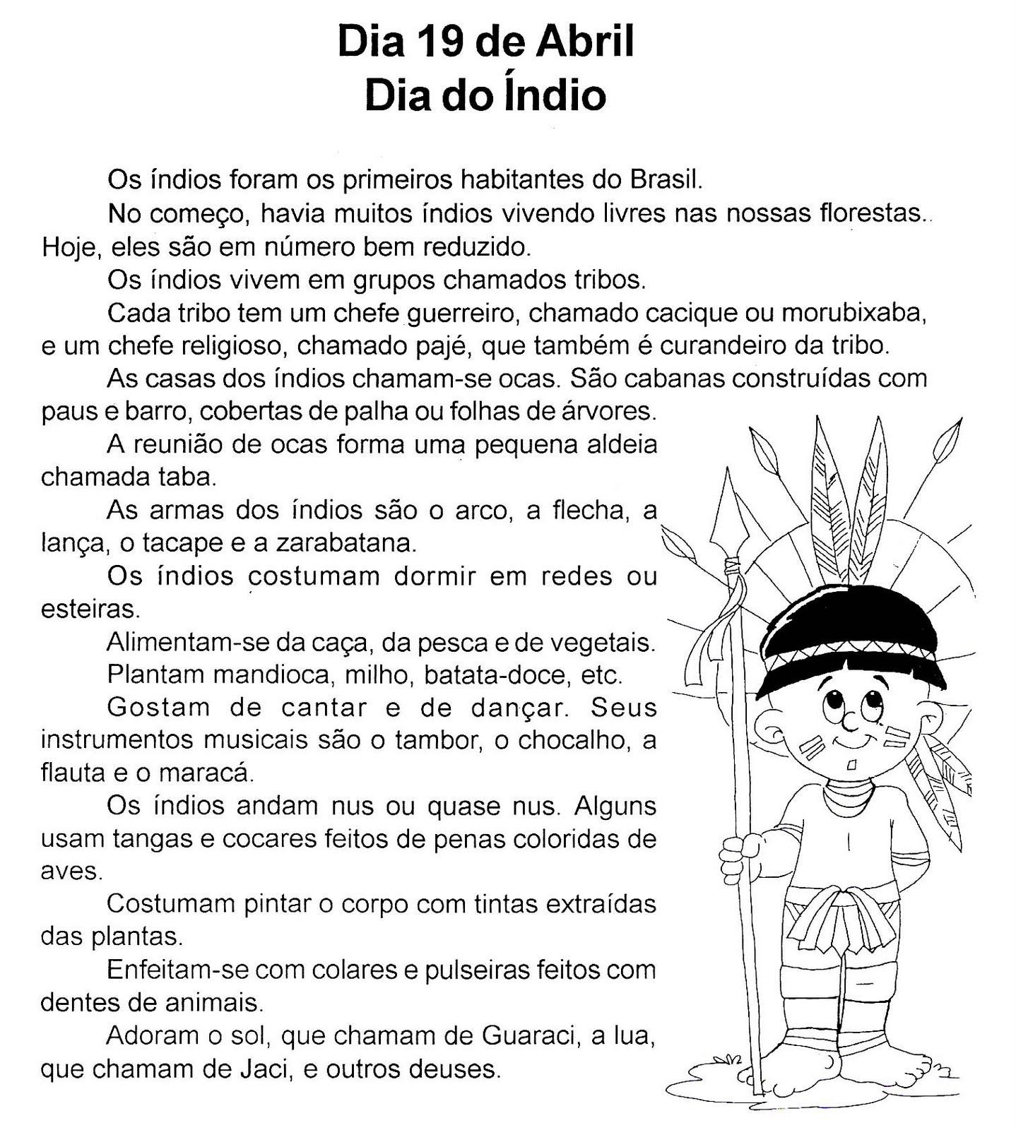 Texto - 19 de abril Dia do Índio