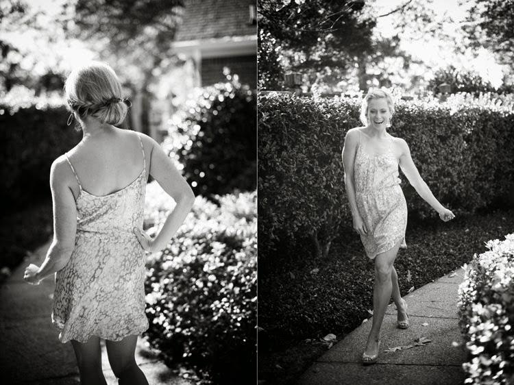 honor party girl walking sassy down the sidewalk
