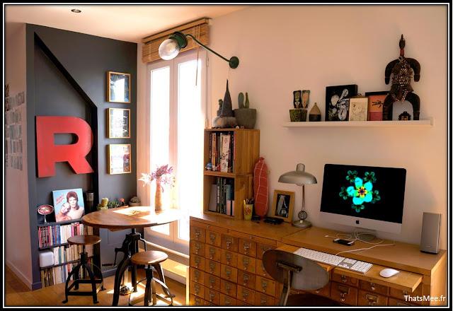déco style loft 40m² meuble métier tiroir table Etsy 70s fauteuil club brocante vintage, table tabouret AM PM à manivelle
