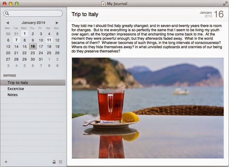 Mac Journal software screenshot