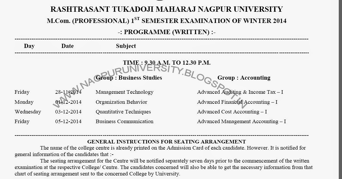 Rtmnu m com 1st sem exam time table winter 2014 for Rtmnu time table 4th sem