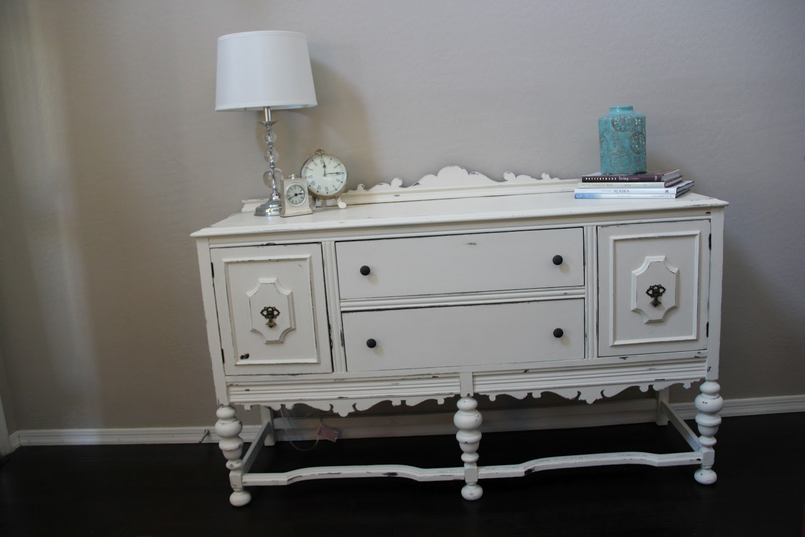 New To You Distressed White And Gray Buffet