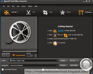Bigasoft Total Video Converter easily convert any video format to MP4, 3GP, AVI, Xvid, DivX, H.264, MKV, WMV, RM, FLV, MOV