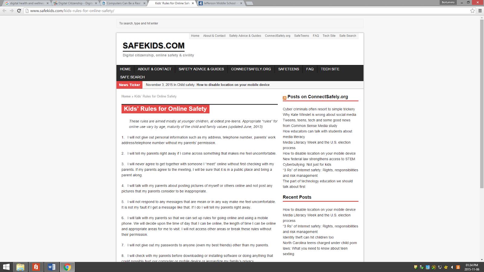 Safekids Com Kids Rules For Online Safety