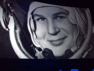 Large pic at Science Museum' IMAX theatre of the first woman cosmonaut