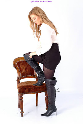 Sexy Louise Secretary in Leather Thigh Boots