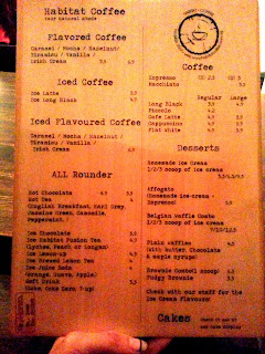 Habitat Coffee Upper Thomson Menu