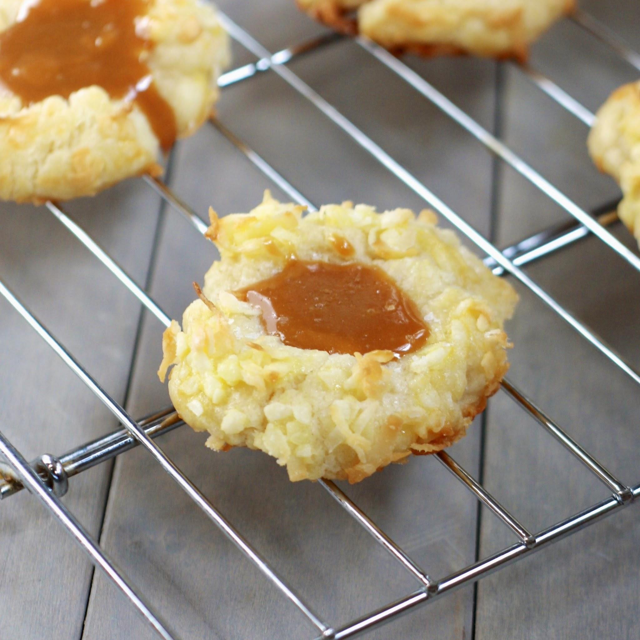 coconut caramel thumbprint cookies