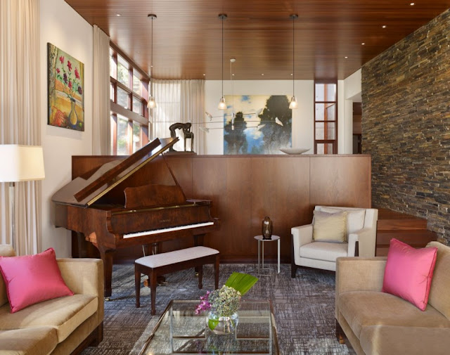 Wooden piano in the living room