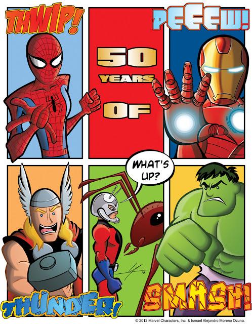 Spider-Man Hulk Thor Ant-Man Iron Man 50th Anniversary fan art
