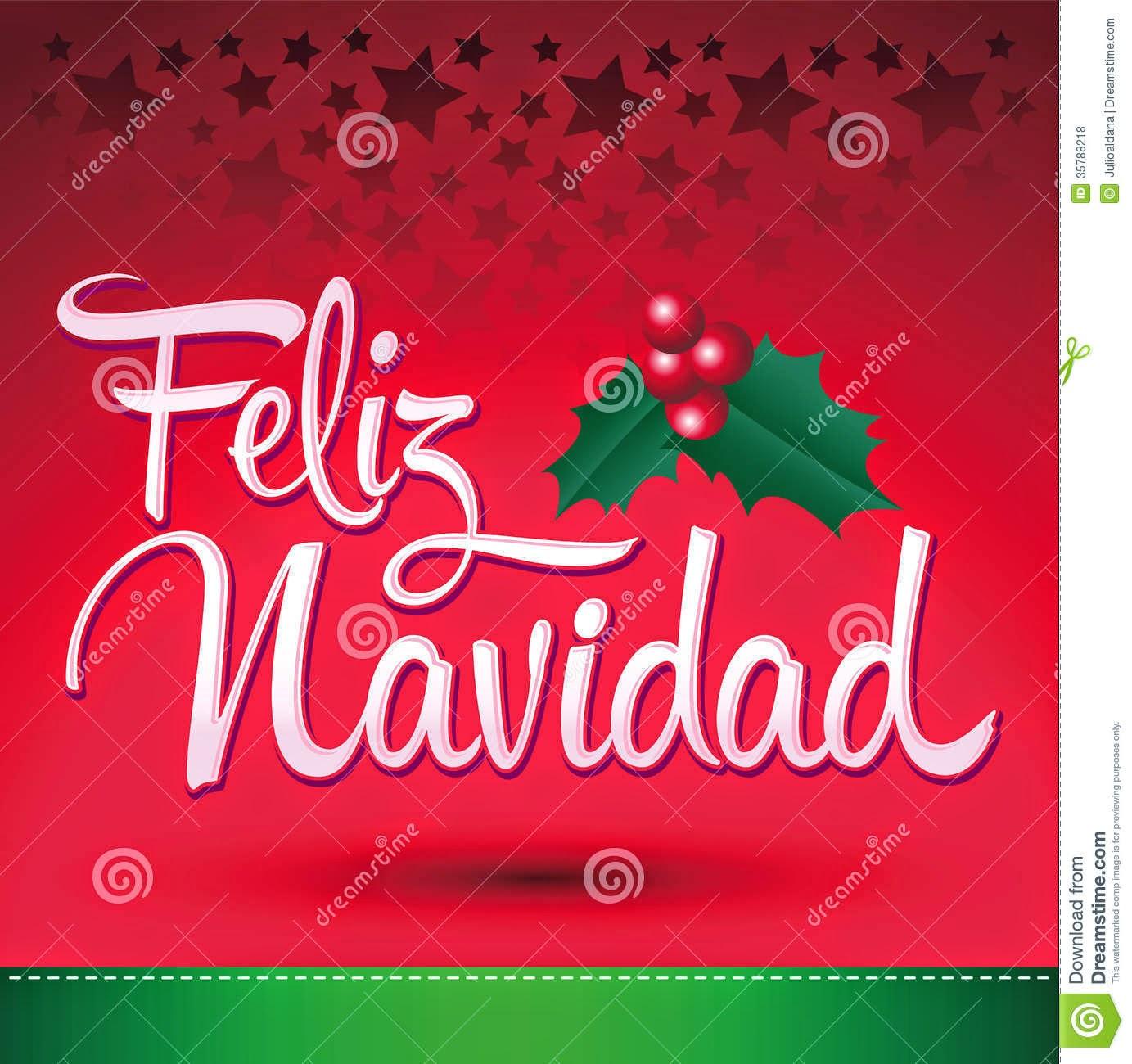 Feliz Navidad Merry Christmas Spanish Text Vector Christmas