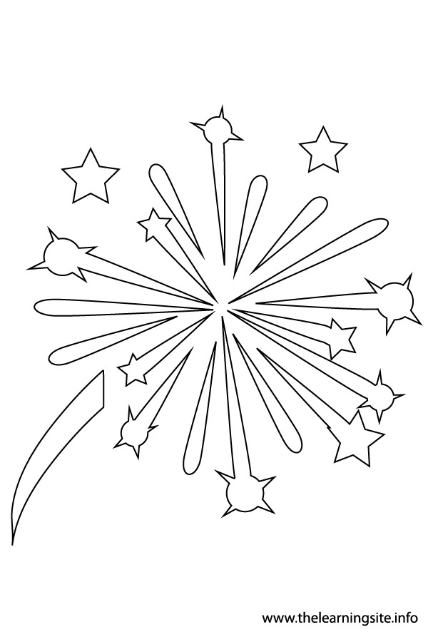 firework clipart colouring pages